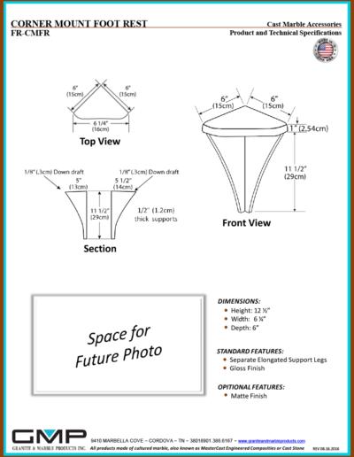 FR-CMFR - CORNER MOUNT FOOT REST - Prod & Tech Specs