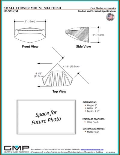 SD-SM-CM - SMALL CORNER MOUNT SOAP DISH - Prod & Tech Specs