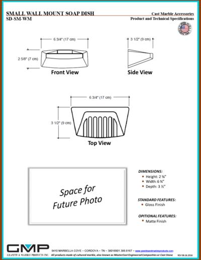 SD-SM-WM - SMALL WALL MOUNT SOAP DISH - Prod & Tech Specs