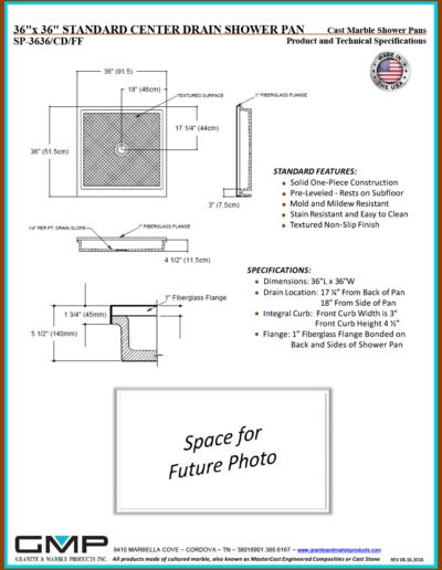 SP-3636-CD-FF Shower Pan - Prod & Tech Specs