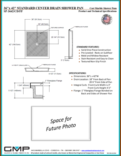 SP-3642-CD-FF Shower Pan - Prod & Tech Specs
