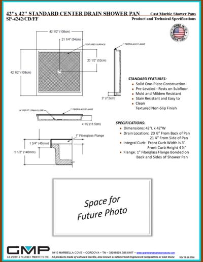 SP-4242-CD-FF Shower Pan - Prod & Tech Specs