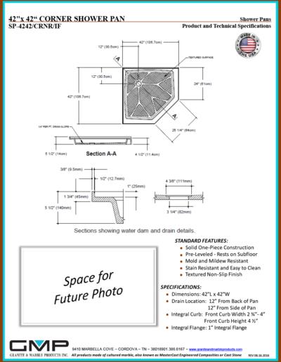 SP-4242-CRNR-IF Shower Pan - Prod & Tech Specs