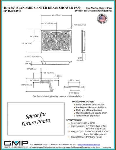 SP-4836-CD-IF Shower Pan - Prod & Tech Specs