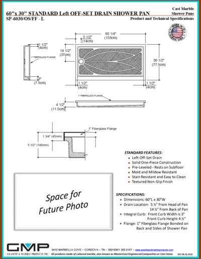 SP-6030-OS-FF - L Shower Pan - Prod & Tech Specs