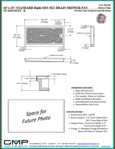 SP-6030-OS-FF - R Shower Pan - Prod & Tech Specs