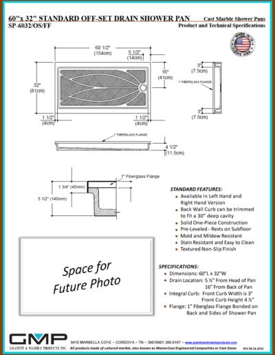 SP-6032-OS-FF Shower Pan - Prod & Tech Specs