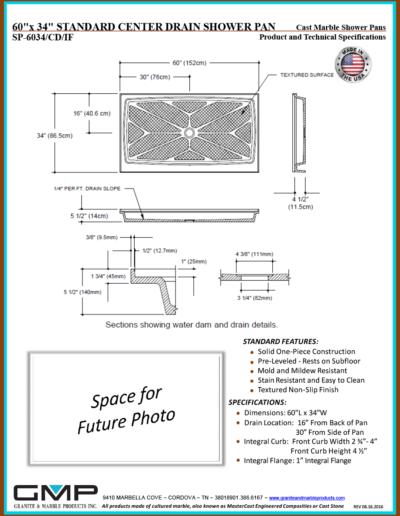SP-6034-CD-IF Shower Pan - Prod & Tech Specs