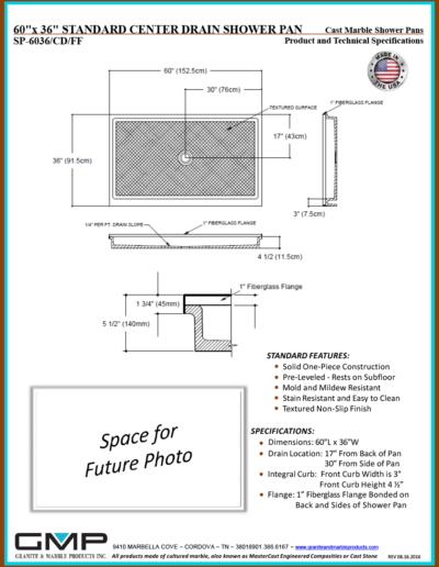 SP-6036-CD-FF Shower Pan - Prod & Tech Specs
