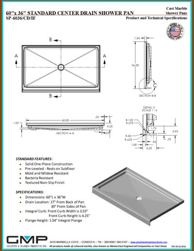 SP-6036-CD-IF Shower Pan - Prod & Tech Specs