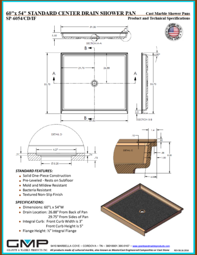 SP-6054-CD-IF Shower Pan - Prod & Tech Specs