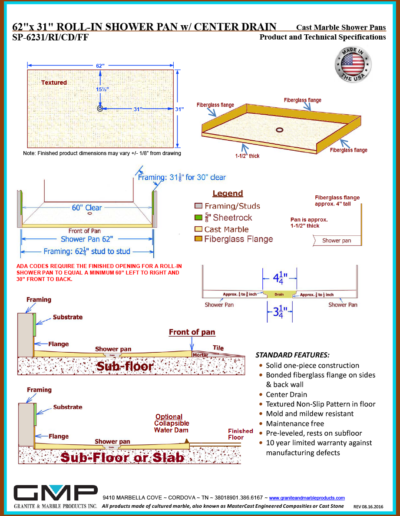 SP-6231-RI-CD-FF Shower Pan - Prod & Tech Specs
