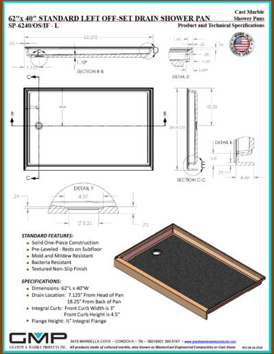 SP-6240-OS-IF - L Shower Pan - Prod & Tech Specs