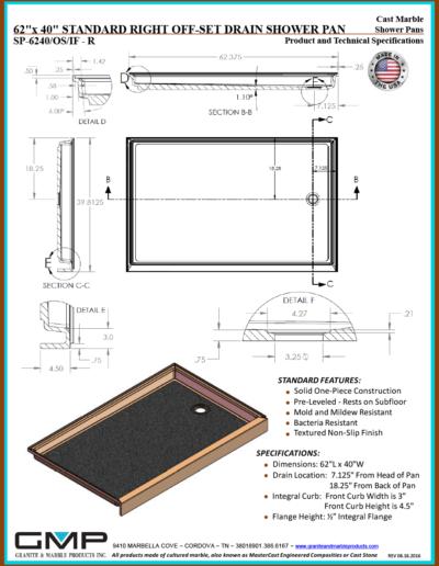 SP-6240-OS-IF - R Shower Pan - Prod & Tech Specs