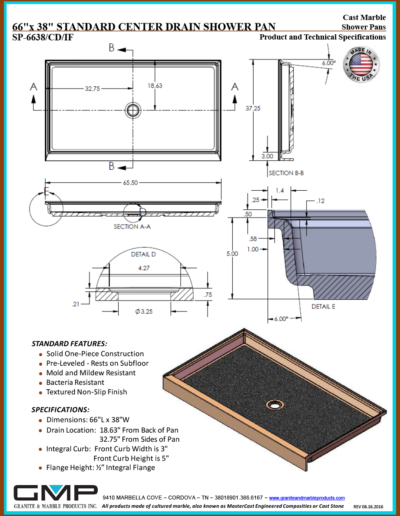 SP-6638-CD-IF Shower Pan - Prod & Tech Specs