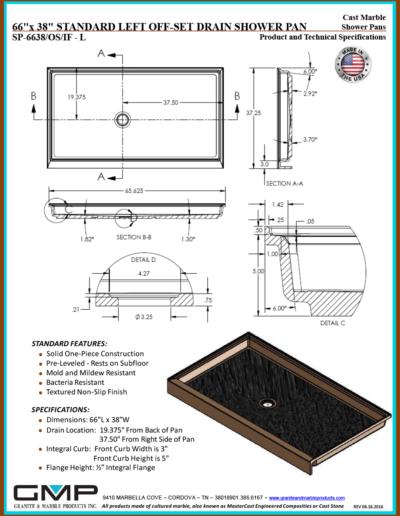 SP-6638-OS-IF - L Shower Pan - Prod & Tech Specs