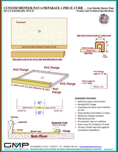 SP-CUSTOM-1PC-PVCF Shower Pan - Prod & Tech Specs
