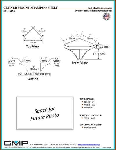 SS-CMSS - CORNER MOUNT SHAMPOO SHELF - Prod & Tech Specs